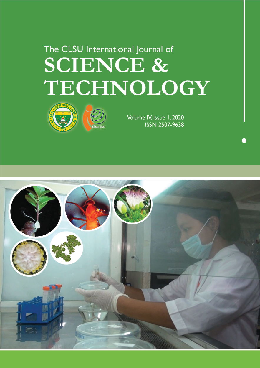 View Vol. 4 No. 1 (2020): CLSU International Journal of Science & Technology (2020)
